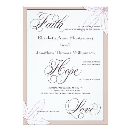 Purple Botanical Christian Wedding Invitation
