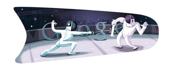 Londra 2012 doodle olimpici: per il 4° Google sceglie la scherma (con video animazione)