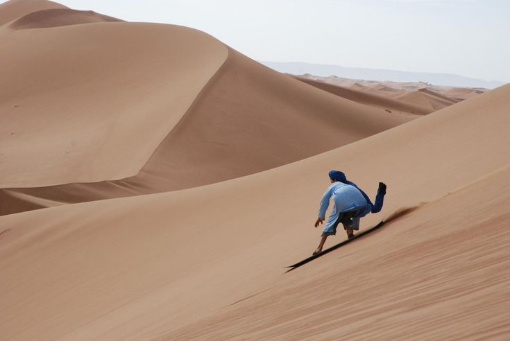 We offer sandboarding in all our Morocco desert tours from Marrakech to Merzouga or to M'hamid. Sandboarding is one of the most amazing desert experiences.