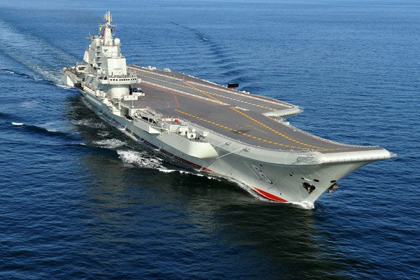 Chinese Peoples Liberation Army Navy's first aircraft carrier Liaoning.Formerly Russian Admiral Kuznetsov class carrier Riga,later renamed Varyag,before major rebuild,modernisation,& refurbishment.