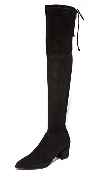Get this STUART WEITZMAN's high wedge boots now! Click for more details. Worldwide shipping. Stuart Weitzman Thighland Over the Knee Boots: Bold Stuart Weitzman over-the-knee boots with a pointed toe, rendered in supple suede. Inset drawstring at the top. Rubber sole. Leather: Goatskin. Made in Italy. This item cannot be gift-boxed. Measurements Heel: 2.5in / 65mm Shaft: 24in / 61cm (botas de caña alta, caña, cañas, mosquetera, mosqueteras, alta, xxl, altas, highland, rodilla, high…