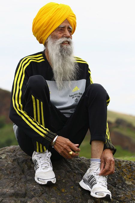 """""""The Turbaned Tornado"""" – I'm the oldest marathon runner in the world. Last month, just three weeks after my 101st birthday, I ran the London Marathon in seven hours and 49 minutes. I've completed eight other marathons in the past 12 years, including the Toronto Waterfront Marathon, which I ran when I was 100 years old. How do I do it? Simple: firstly, I eat only vegetarian foods"""