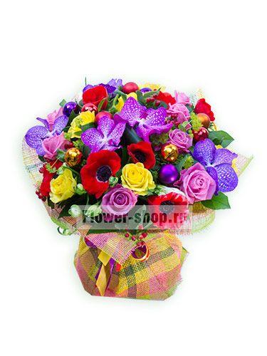 Салют из праздничных цветочных огней вспыхнет перед глазами изумленной девушки благодаря этому красочному букету!