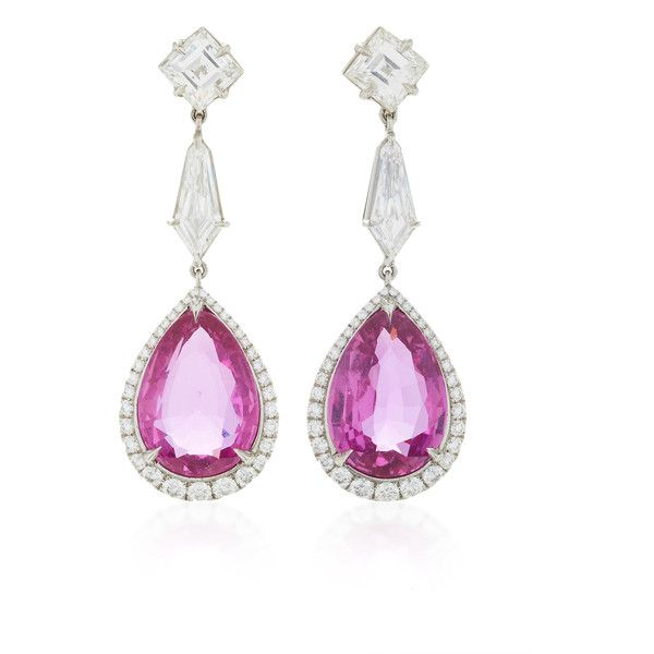 One-of-a-Kind Pink Sapphire & Diamond Earrings | Moda Operandi (4.541.160 ARS) ❤ liked on Polyvore featuring jewelry, earrings, diamond jewelry, earring jewelry, diamond earrings, diamond jewellery and pink sapphire earrings