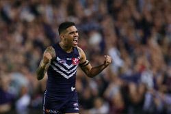 SUN-1401393 © WestPix AFL Round 5 - Fremantle Dockers vs North Melbourne Kangaroos at Subiaco Oval, Perth. Pictured - Fremantle's Michael Walters can't hide his excitement after the siren sounds  Picture: Daniel Wilkins