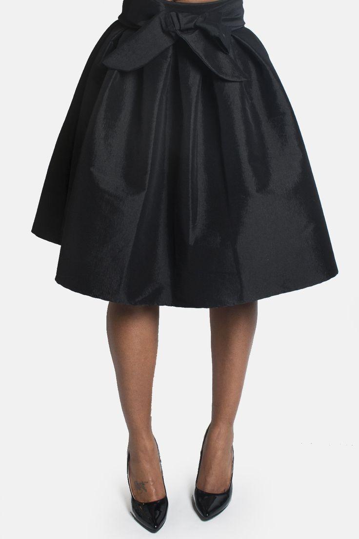 Midi Taffeta Skirt - Black
