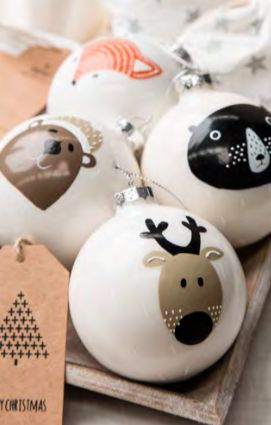 Nordic Hand Painted Animal Glass Baubles - Lime Lifestyle