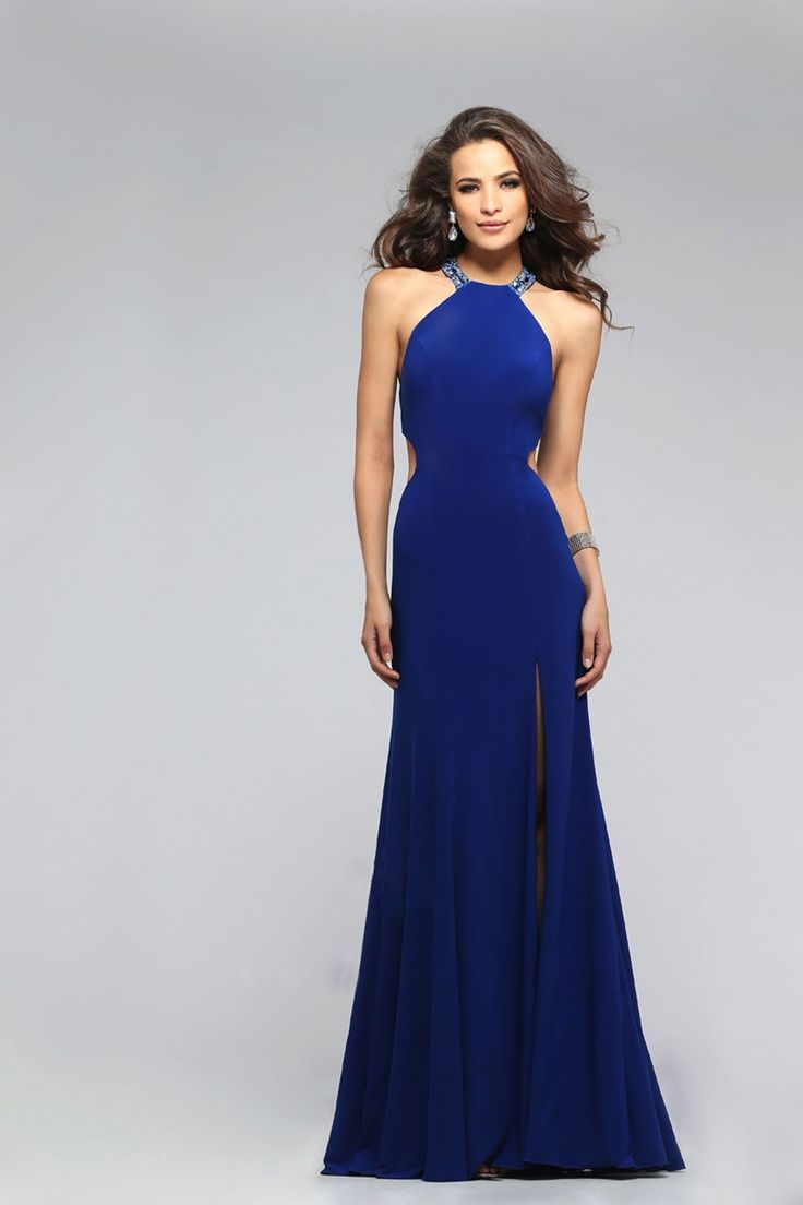 This dress is sophisticated and show stopping. Side cutouts hang just above the low hip to accentuate an hourglass figure. This jersey dress features a high beaded neck and straps that interlock and decorate the back. Accessorize with earrings and bracelets that highlight the beading.