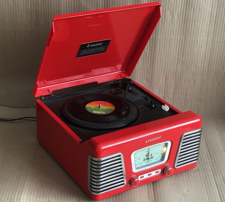 Steepletone Retro Record Player - Red 3 Speed Turntable with Radio & Line Out  | eBay