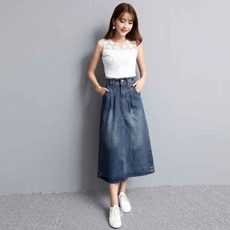High Waist Denim Midi Skirt - Plus Size S-2XL //Price: $40.02 & FREE Shipping //     #hashtag4