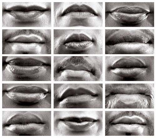 Lorna Simpson, 15 Mouths. This photo is successful because it creates a sense of identity without showing much of or about the person. It's showing how we all are equal and posses the same physical attributes, but are very different from each other. This may be one of my ideas for the constructive narrative project.