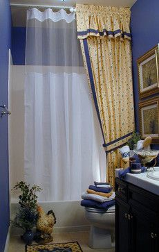 French Country Bathroom in Yellow - traditional - bathroom - sacramento - TRAX Ceiling Shower Rods