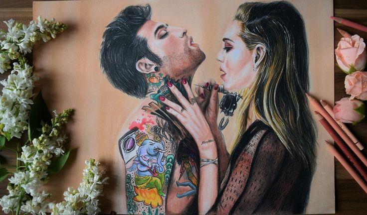 Fedez and Chiara Ferragni drawing