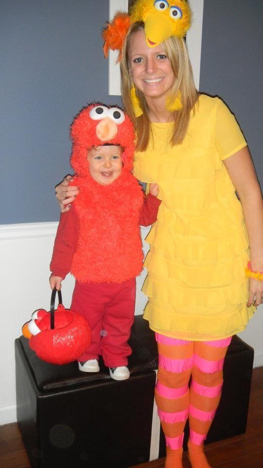 Big bird and Elmo costume  Elmo- store bought Big bird- head piece and stockings homemade