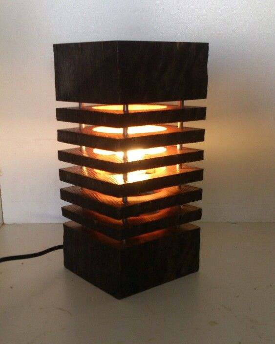 "Table lamp ""the Creswell"" spotted gum recycled timber"