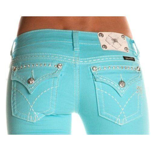 Miss Me Denim Jeans Womens Thick Stitch 25 Skinny Aqua