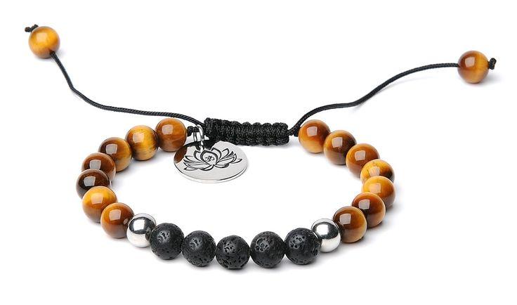 Bella.Vida Mens Womens 8mm Natural Lava Stones and Tiger Eye Bead Handmade Adjustable Braided Bracelet with Lotus Charm