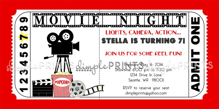 Movie Ticket Printable Birthday Invitation Dimple Prints Shop Party Invite Template Movie Ticket Birthday Invitations Printable Birthday Invitations