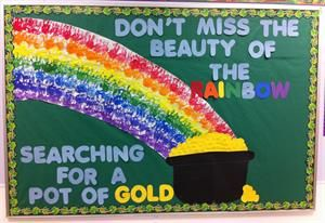 March St. Patrick's Day Rainbow Bulletin Board Idea