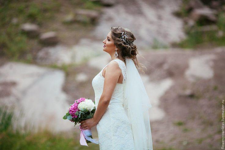 Купить «Виноградная лоза» для свадебной прически - белый, жемчуг, украшение для пучка, украшение для волос
