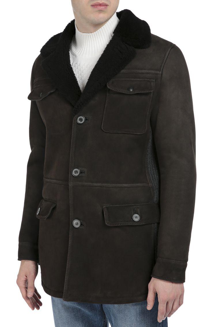 Однобортное пальто из овчины