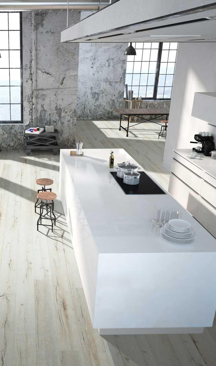 Modern studio kitchen. Urban interior design. Flooring by Beaulieu Canada, Cartier from the Explorer collection of laminate flooring.