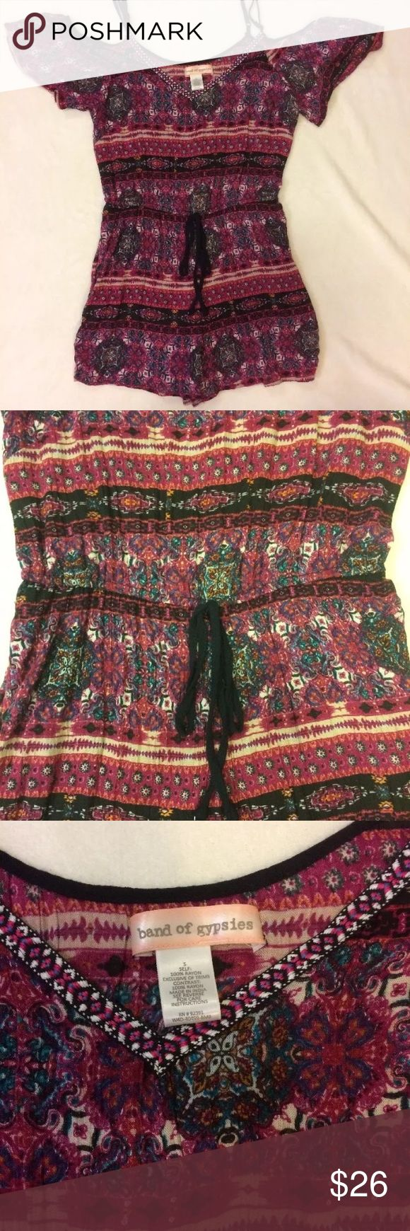 """Band Of Gypsies romper Size small cold shoulder romper ties at waist adjustable straps 100% rayon measurements are approximately 12"""" across waist but stretches 15"""" across under arms 29"""" length from top of shoulder strap to bottom hem new without tags Band of Gypsies Other"""