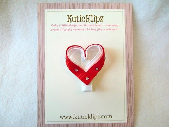 Cute for Valentines Day. Triple Passion Sparkle Heart Hair ClipHairclip3D by KutieKlipz, $3.25