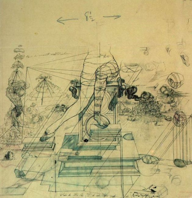 Salvador Dali, Studies for the air centers and soft morphologies of 'Leda Atomica', 1947
