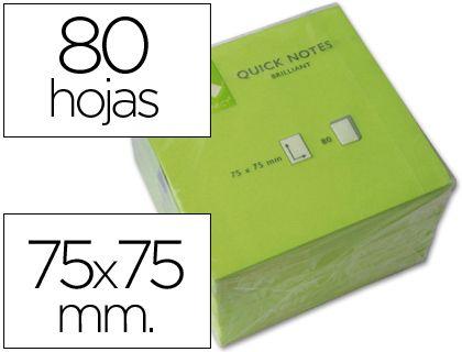 Notas adhesivas en color verde neón de 75 x 75 mm. - Ofiespaña