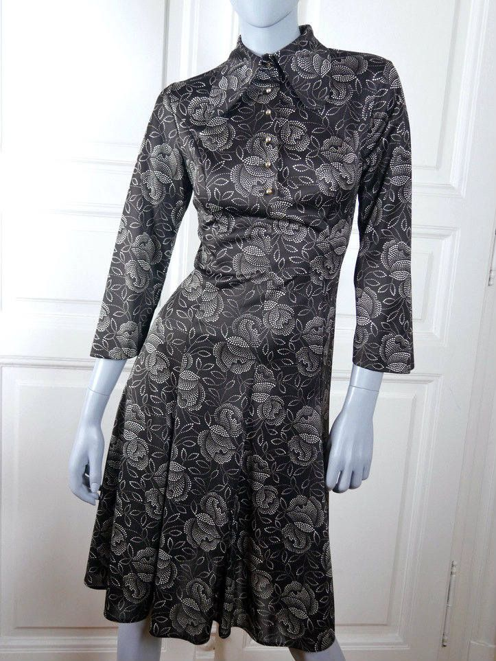 1970s Swedish Vintage Midi Dress, Brown Polyester w White Dot Floral Pattern European Knee Length Dress, Super Wide Collar: Size 8 US, 12 UK by YouLookAmazing on Etsy