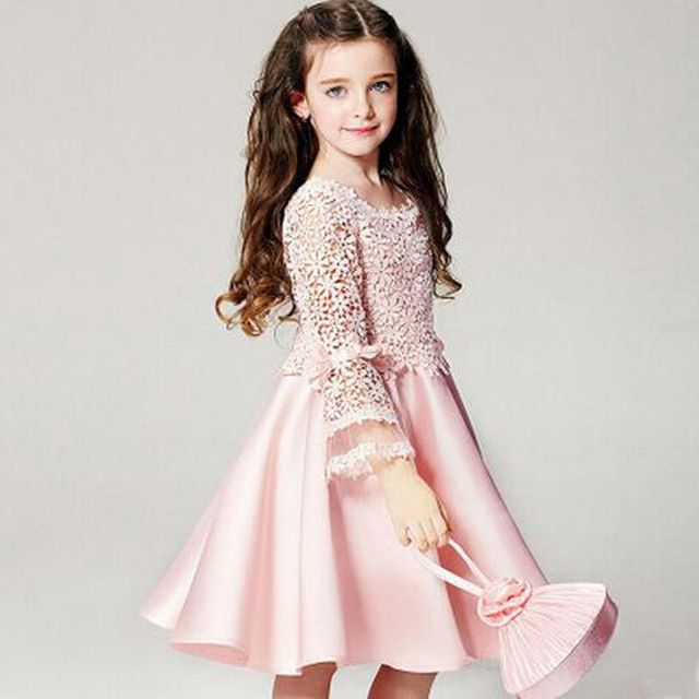 Summer 2016 Dresses For Little Bridesmaids Girls Dress For Party And Wedding Lace Girls Clothes High Quality Robe Fille
