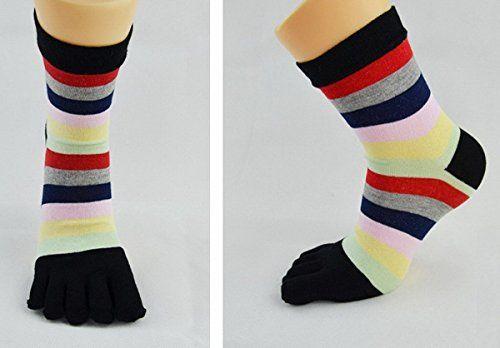 Auxma 6Pair mujeres ocasional linda rayado cinco dedos de la tripulación del dedo del pie calcetines deportivos