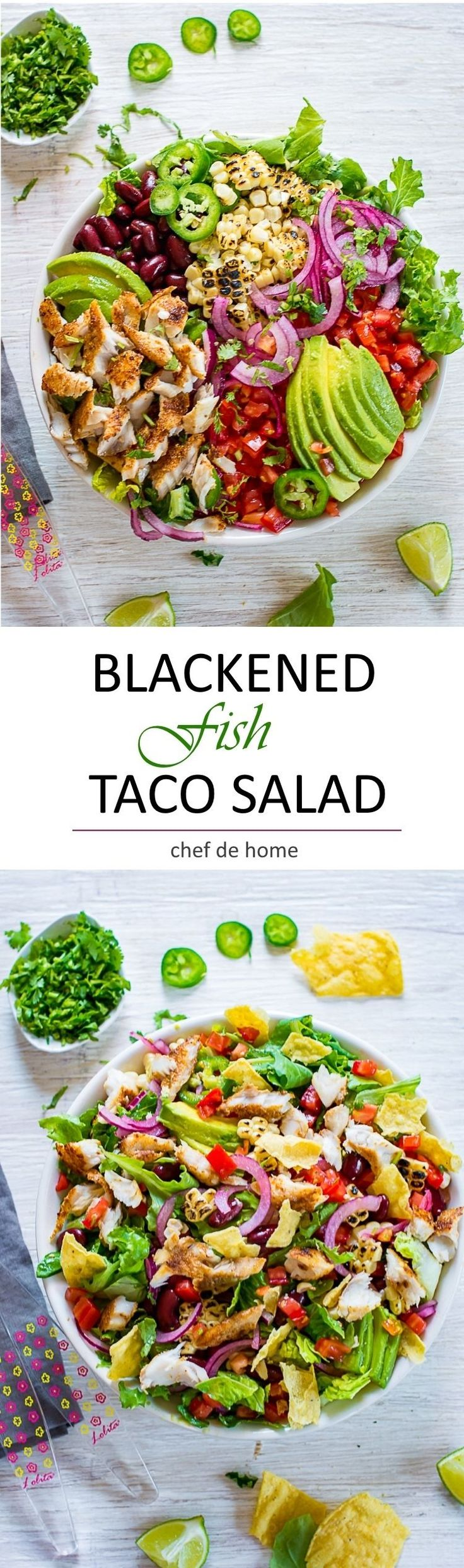 Blackened Fish Taco Salad - A healthy taco salad bowl with blackened spiced Cod fish, crunchy tortillas and amazingly delicious avocado cotija cheese dressing!