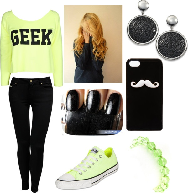 """Geek Outfit in Green"" by thaliagarcia ❤ liked on Polyvore"