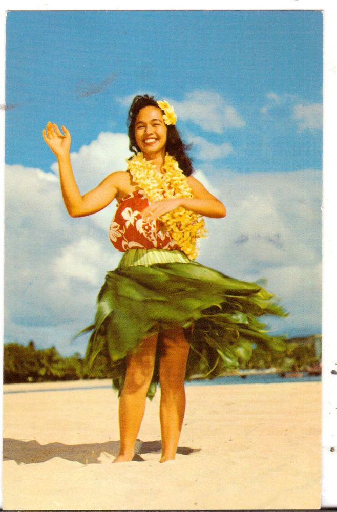 1976 Postmarked Postcard Lovely Hawaiian Hula Maiden on Beach Hawaii