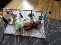 Homemade baby toy gym. PVC pipe. Not sure why I didn't think of this, it also seems much sturdier than store bought ones. My son always pulled his down on top of himself!