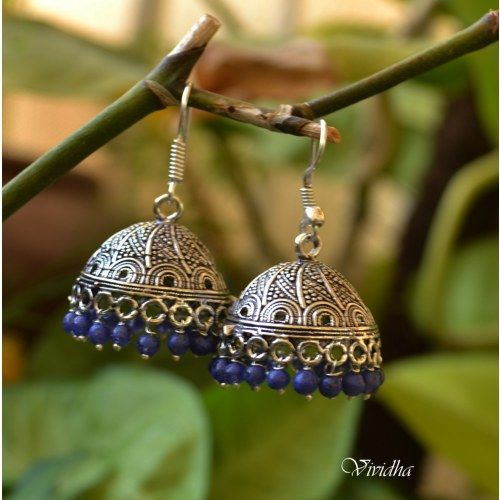 Blue Beads White Metal Jhumka