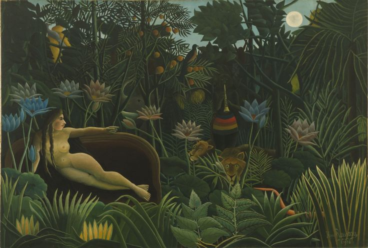 """//// 앙리 루소 <꿈> - 1910년 제작 //// 앙리 루소가 약 25점에 걸쳐 남긴 정글에 대한 작품 중 하나이다. 그러나 정작 본인은 프랑스를 떠나본 적이 없고 박람회나 잡지 등을 통해 이국의 식물, 풍경 등에 대해 접하게 된 것이라고 한다. 그는 온실에 서서 이국 땅에서 건너온 이상한 식물들을 보고 있노라면, 마치 내가 꿈 속으로 들어가고 있는 것처럼 느껴진다."""" 라고 말하기도 했다. 화면 좌측에 쇼파 위에 누워있는 여인의 이름은 '야드비가'로서 루소는 이 그림 옆에 '야드비가'가 여주인공으로 등장하는 시를 붙여놓았다고 한다. 그리고 그 시를 읽어보면 사실 이 작품은 야드비가의 꿈과 현실이 공존하여 결합되어 있는 공간이다. 다시 말해 그녀는 파리의 한 쇼파에 누워있으면서 야자수와 금빛 날개의 새, 코끼리 등이 있는 정글을 보고 있는 것이다. 어쩌면 이것은 단지 야드비가의 꿈이 아니라 루소의 꿈이 아닐까 싶다. 파리에 있으면서도 이국의 정글을 늘 떠올렸던 그의 꿈…"""