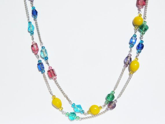 Pastel multicoloured bead and chain long by CathsCraftCreations, $17.00