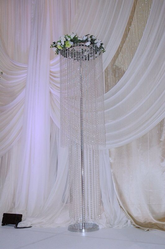 8ft beaded floral stand for wedding stage decoration or walk way decoration. A heavy amble under the stainless base cover
