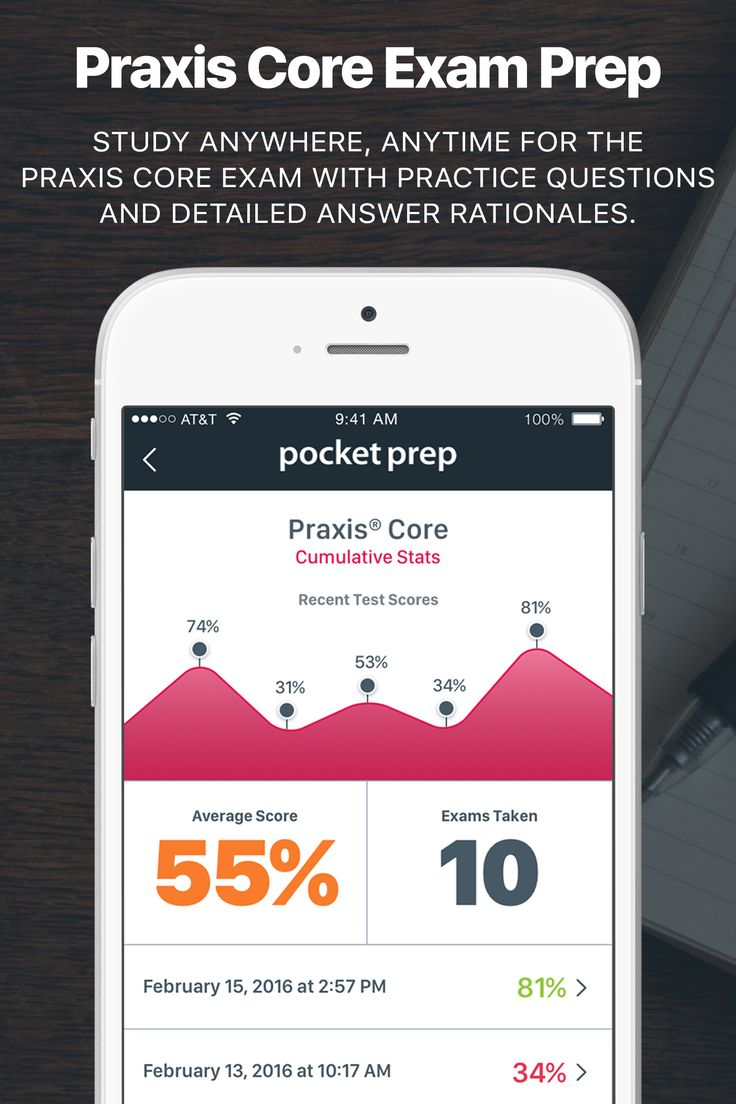 Study anywhere, anytime for the Praxis Core examination with practice questions and detailed answer rationales. Download the app on the iTunes App Store or Android Google Play.
