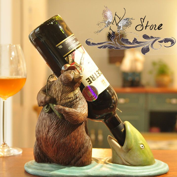 Resin brown bear home decorative accessories wine bottle holder for whiskey beer wine rack gift