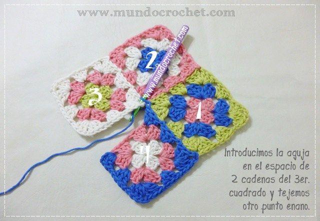 Como unir cuadrados granny a crochet o ganchillo paso a paso