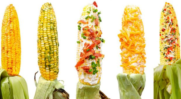 Corn On The Cob Toppings - Grilled Corn Recipes _ 5 Things to Slather on Grilled Corn. Start with our perfect grilled corn recipe, then pile on the toppings! Cilantro-Lime Butter, Horseradish-Cheddar, Bruschetta, Taco-Style, & Cheesy-Garlic Bacon!