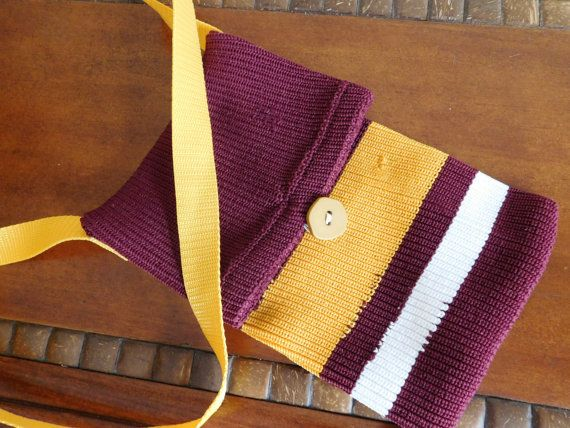 Maroon and Gold Upcycled Hockey Sock Purse  by DLDesignerCrafts