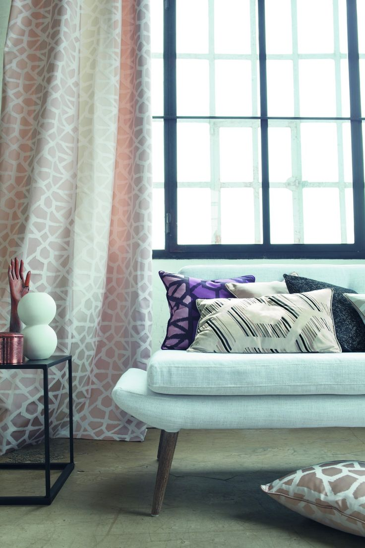 Organic pastel curtains are a 'Proportion' design from the Camengo 'Perspectives' collection. Available exclusively in Australia from The Textile Company