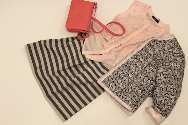 piumino double face, blusa c/perline, gonna righe : WEEKEND MAX MARA