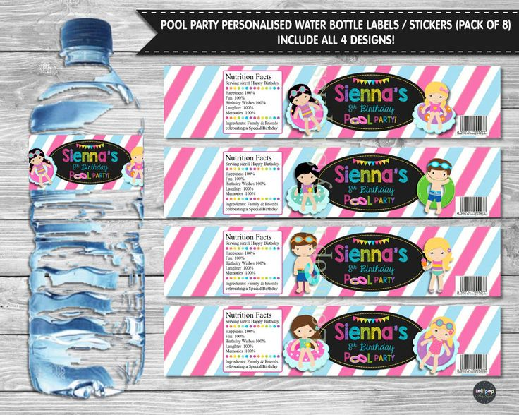 8x POOL PARTY PEEL AND STICK WATER BOTTLE LABELS STICKERS BIRTHDAY GIRL BOY SWIM #Personalisedwaterbottlelabels #BirthdayParty