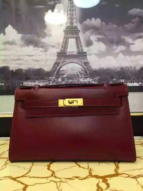 Love-Bags : Hermes Pochette Kelly Mini in Box Leather burgundy...